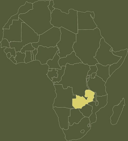 zambia op kaart afrika